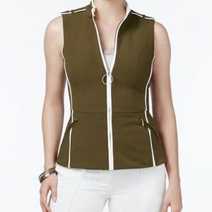 🆕 XOXO Olive Green Embroidered Zippered Vest